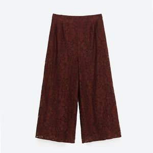 Zara Womens Lace floral Culottes Trousers Pants